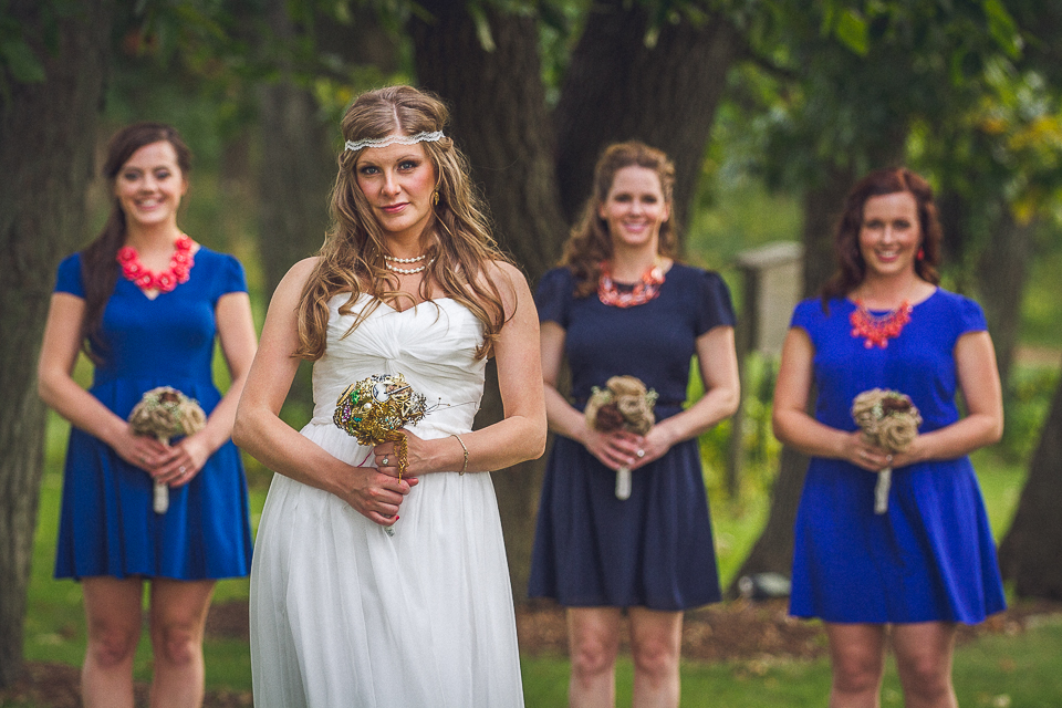 26 1 bride and her bridesmaids - Rural Chicago Wedding Photographer // Chantel + Chris