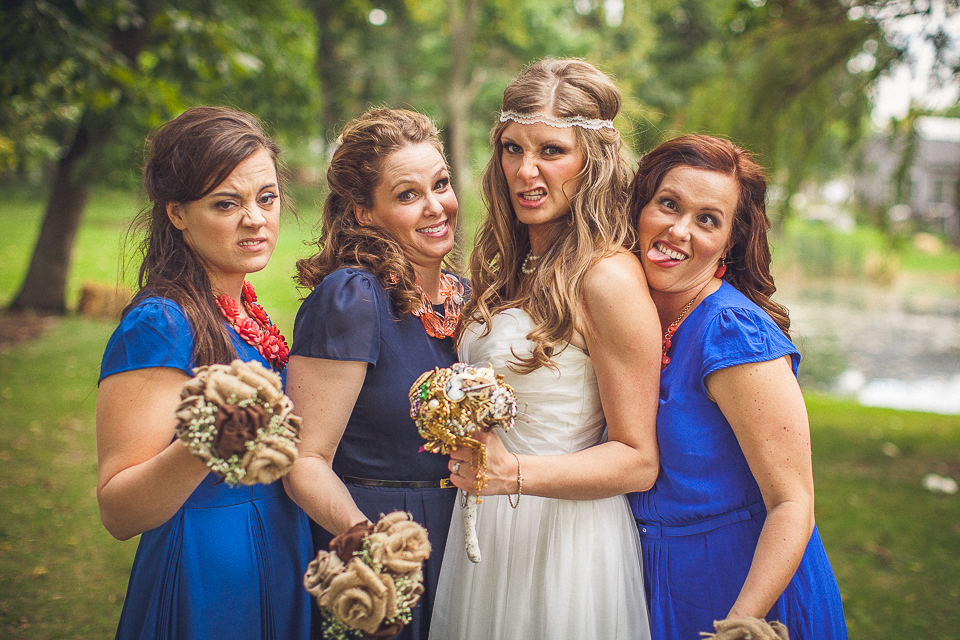 26 2 bride and bridesmaids funny faces - Rural Chicago Wedding Photographer // Chantel + Chris