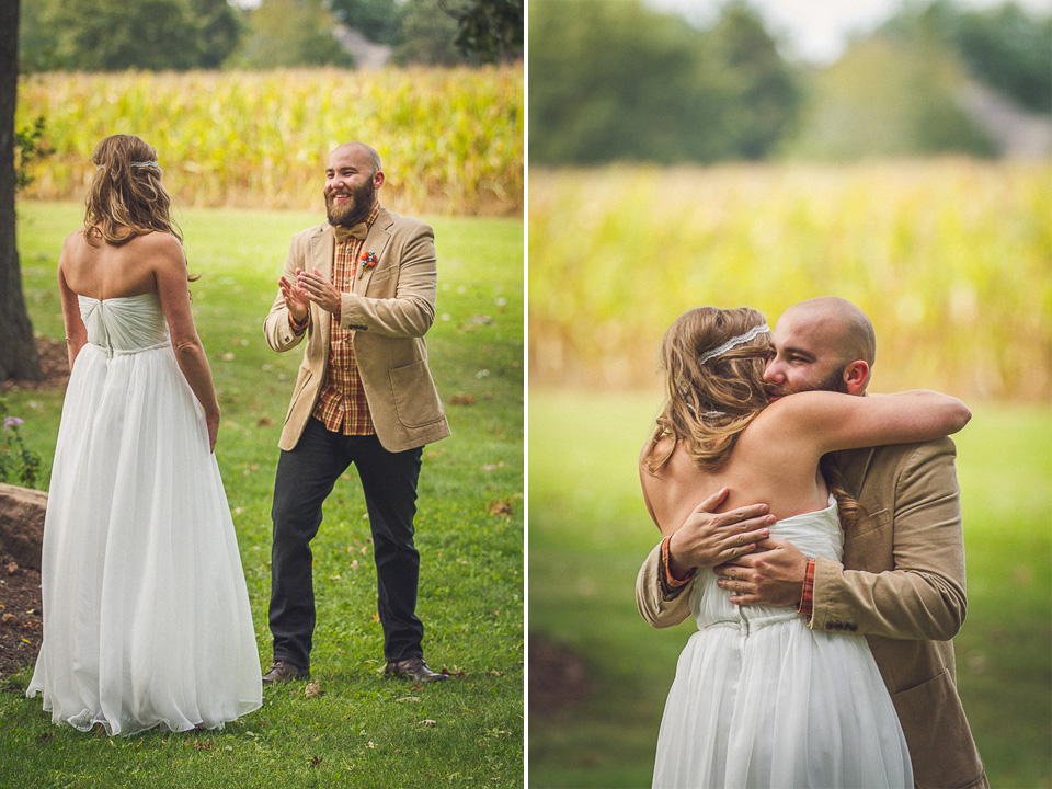 32 bride first look - Rural Chicago Wedding Photographer // Chantel + Chris