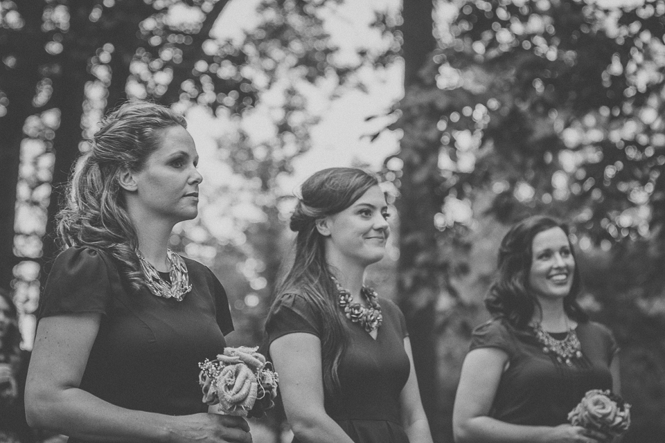 48 bridesmaids during ceremony - Rural Chicago Wedding Photographer // Chantel + Chris