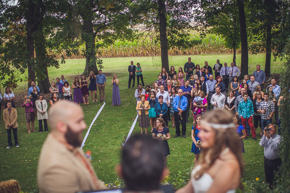 53 crowd view during ceremony - Rural Chicago Wedding Photographer // Chantel + Chris