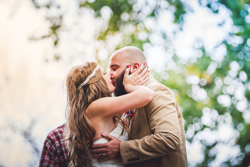 55 first kiss - Rural Chicago Wedding Photographer // Chantel + Chris