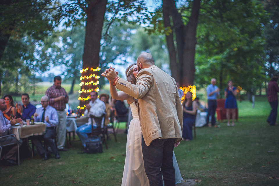 59 first dance outside - Rural Chicago Wedding Photographer // Chantel + Chris