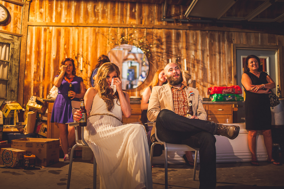 81 bride tearing up at speech - Rural Chicago Wedding Photographer // Chantel + Chris