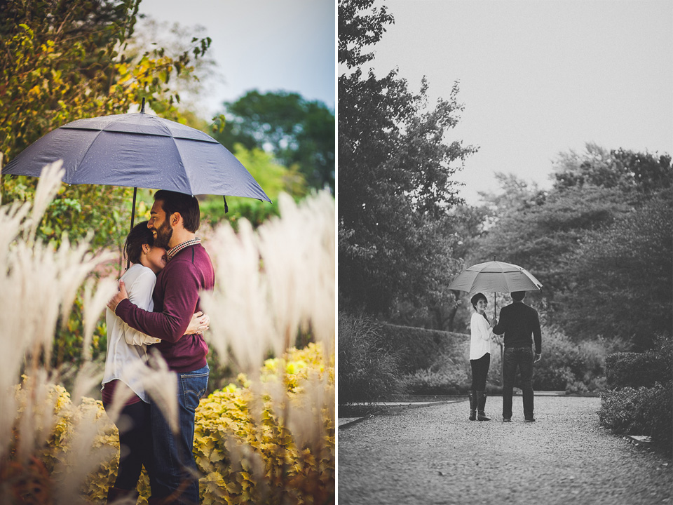 12 portraits of couple with umbrella during engagement session