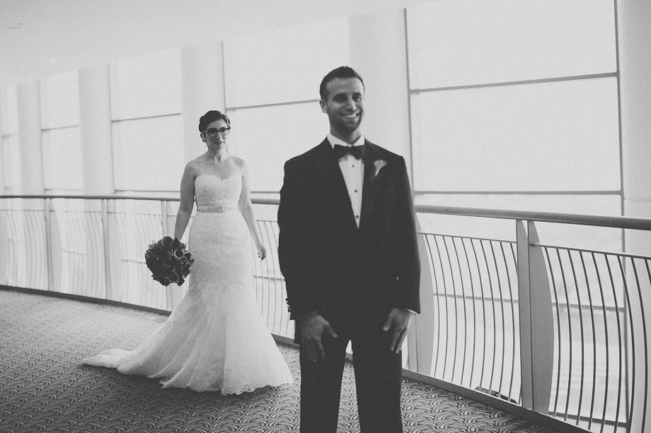 03 bride and groom first look black and white  chicago wedding photographer