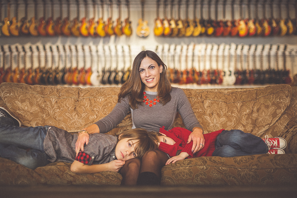 11 mom and her sons at music store portrait peter gubernat - Schmidt Family Creative Portraits