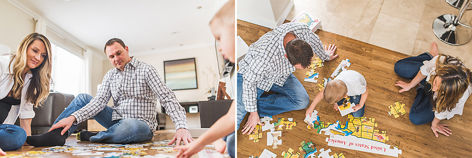 02 family plaing with puzzle - Maternity & Family Photography in Oakbrook <> Wojcicki Family
