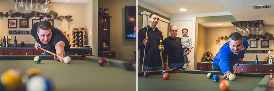 17 playing pool during family photography session in itasca