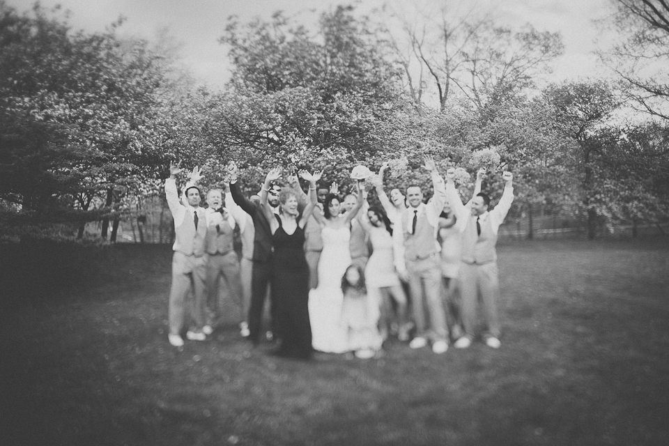 48 black and white freelensing of bridal party