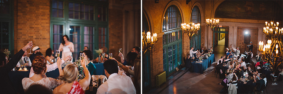 58 cheers with glasses at chicago wedding reception - Wedding Photographer in Chicago // Jessica + Aaron