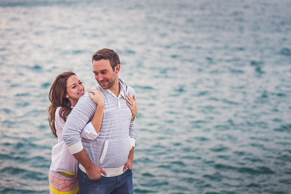 03 couple by the water during chicago engagemend photos