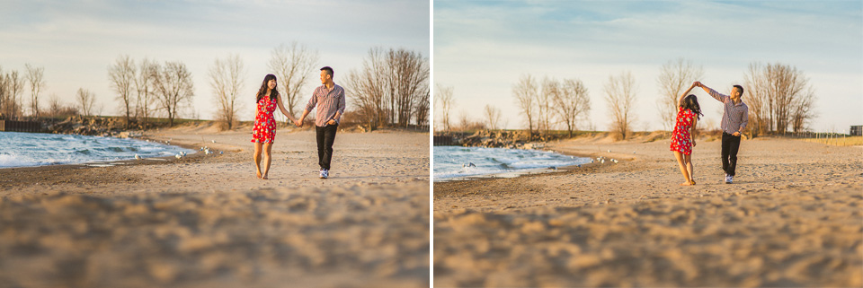 06 dancing on the beach at sunrise - Chicago IL Engagement Photos // Anne + Dennis