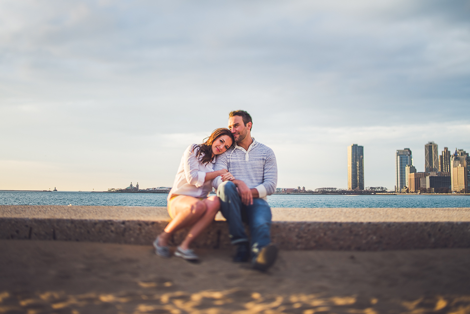 09 tilt shift on the beach chicago wedding photographer - Kindal + Mike // Engagement Photo Shoot in Downtown Chicago
