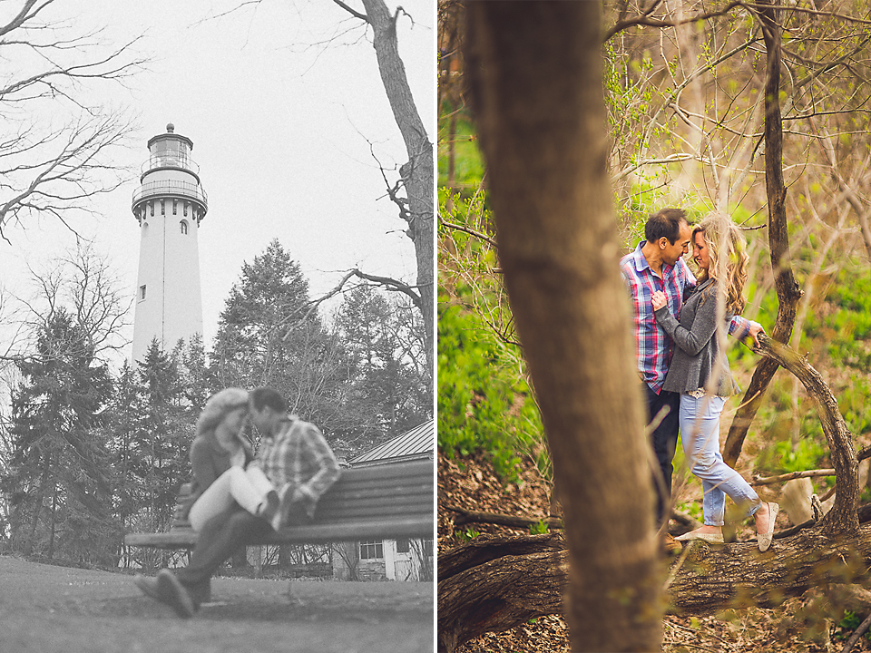 10 1 couple by lighthouse int he woods - Sam + Jason // Grosse Point Evanston IL Engagement Session