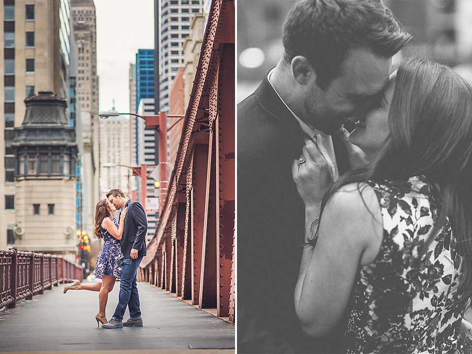 12 kissing in chicago - Kindal + Mike // Engagement Photo Shoot in Downtown Chicago
