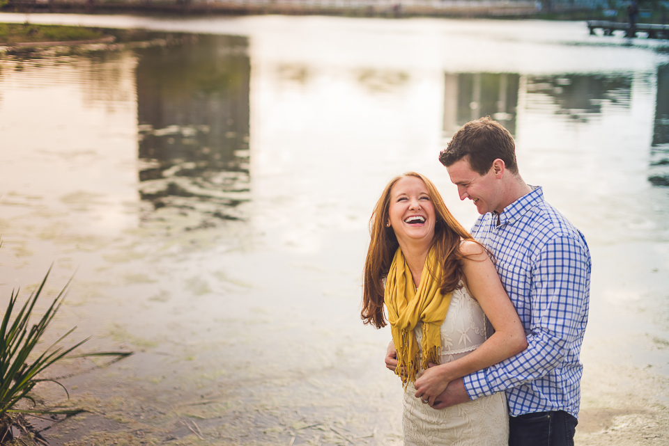 03 laughing by the water - Amy + Pat // Chicago Engagement Photography