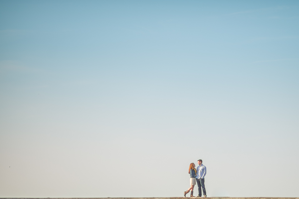 05 1 couple alone on a dock - Amy + Pat // Chicago Engagement Photography
