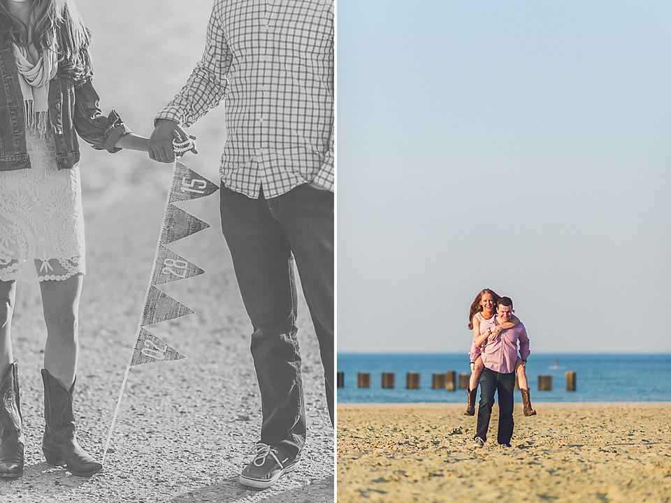 08 1 couple composite on the beach - Amy + Pat // Chicago Engagement Photography