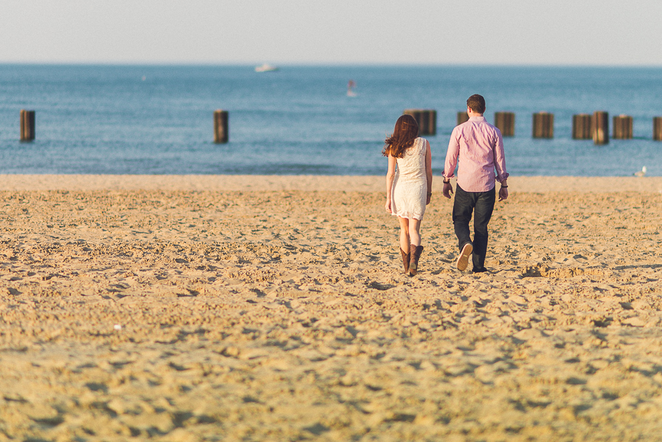 09 stroll on the beach - Amy + Pat // Chicago Engagement Photography