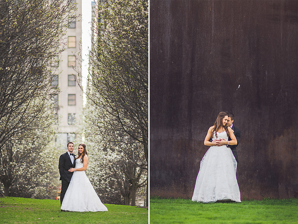 103 bride and groom in park - Downtown Chicago Wedding Photography // Mandy + Tim