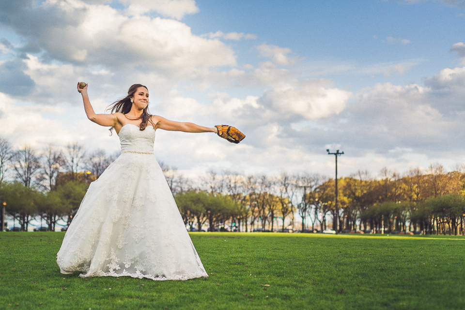 105 1 bride throwing ball - Downtown Chicago Wedding Photography // Mandy + Tim
