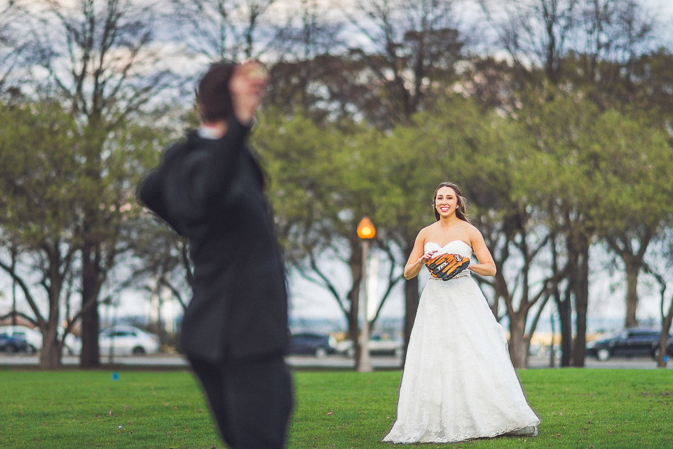 105 bride and groom playing baseball - Downtown Chicago Wedding Photography // Mandy + Tim