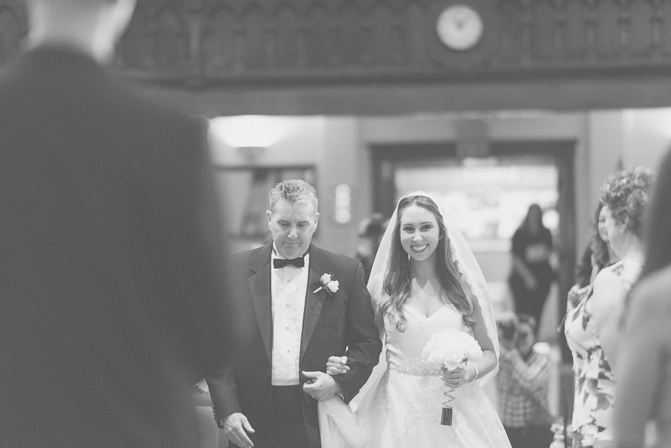 29 bride escorted by her father - Downtown Chicago Wedding Photography // Mandy + Tim