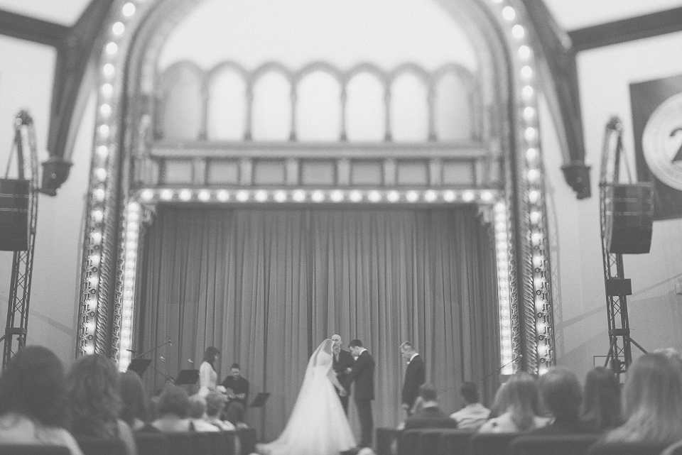 38 tilt shift black and white of wedding - Downtown Chicago Wedding Photography // Mandy + Tim