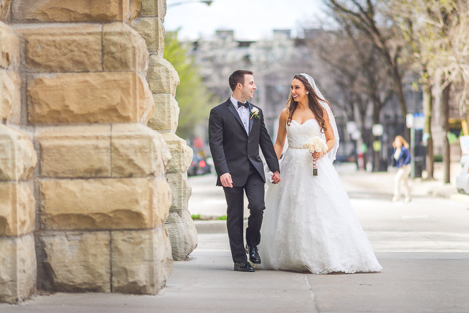48 happy bride and groom at church - Downtown Chicago Wedding Photography // Mandy + Tim
