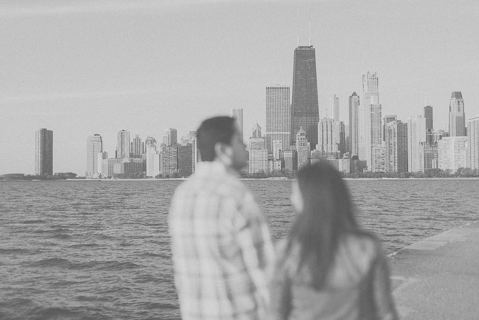 05 chicago in the distance - Juan + Carla // Downtown Chicago Lakefront Engagement Session