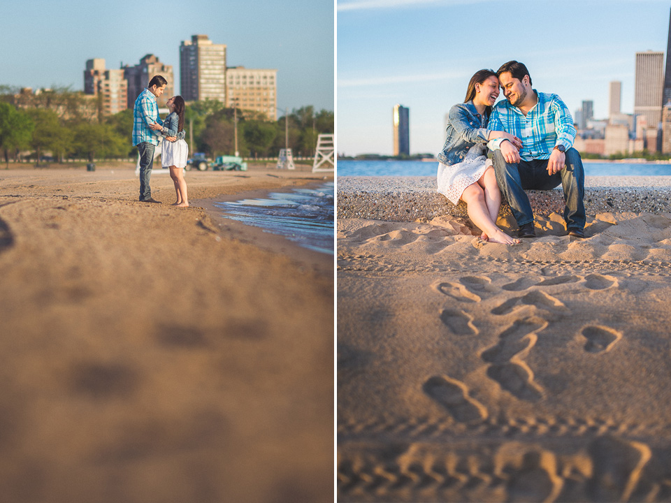09 walking along the beach in chicago - Juan + Carla // Downtown Chicago Lakefront Engagement Session