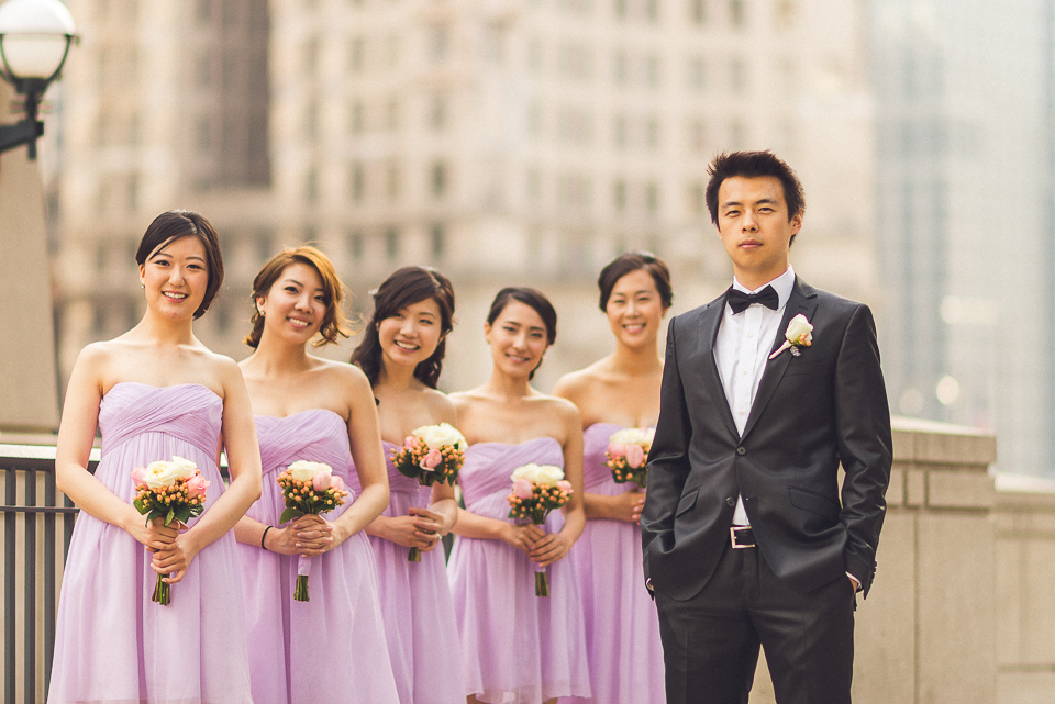 22 groom with bridesmaids - Michael + Haley // Chicago Wedding Photographer - Intercontinental Hotel