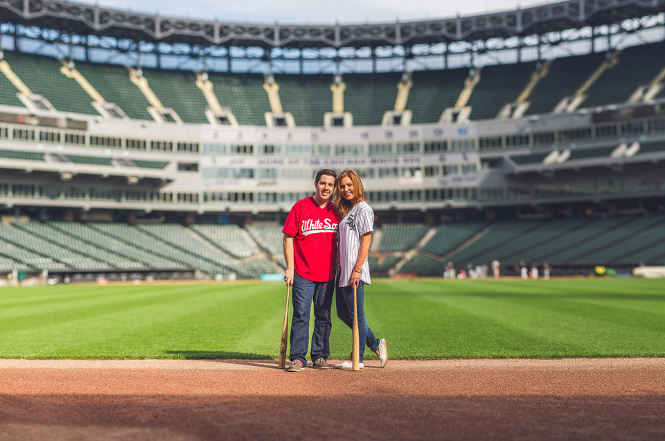 Savannah + Brad // Chicago Sunrise Engagement at US Cellular Field Sox Park