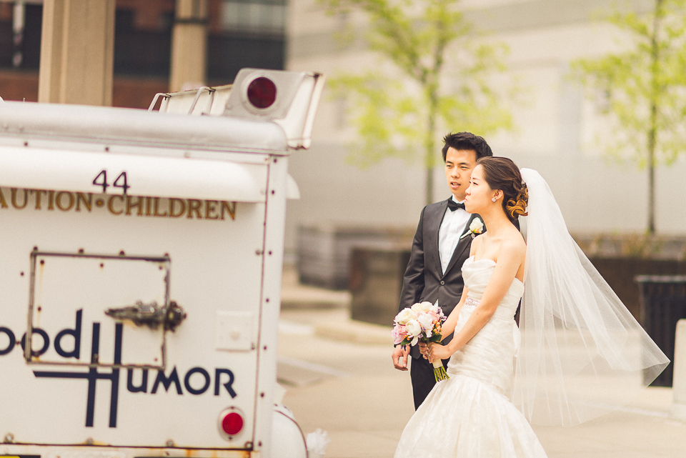 27 bride and groom potrait getting icecream - Michael + Haley // Chicago Wedding Photographer - Intercontinental Hotel