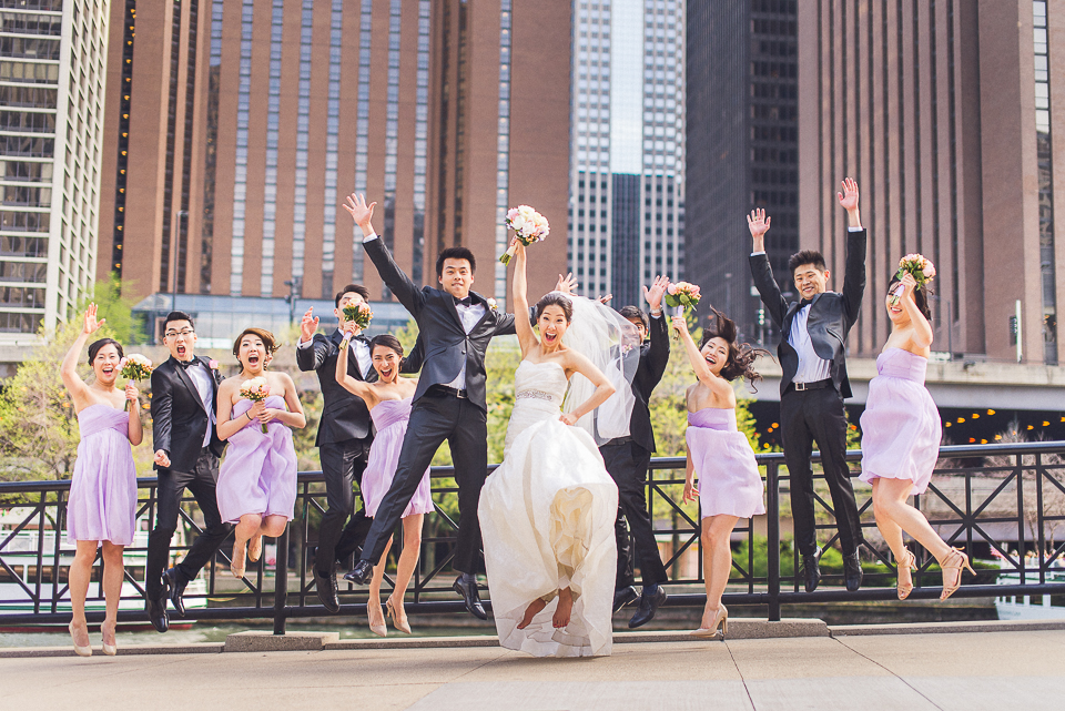 32 bridal party fun on the chicago river - Michael + Haley // Chicago Wedding Photographer - Intercontinental Hotel