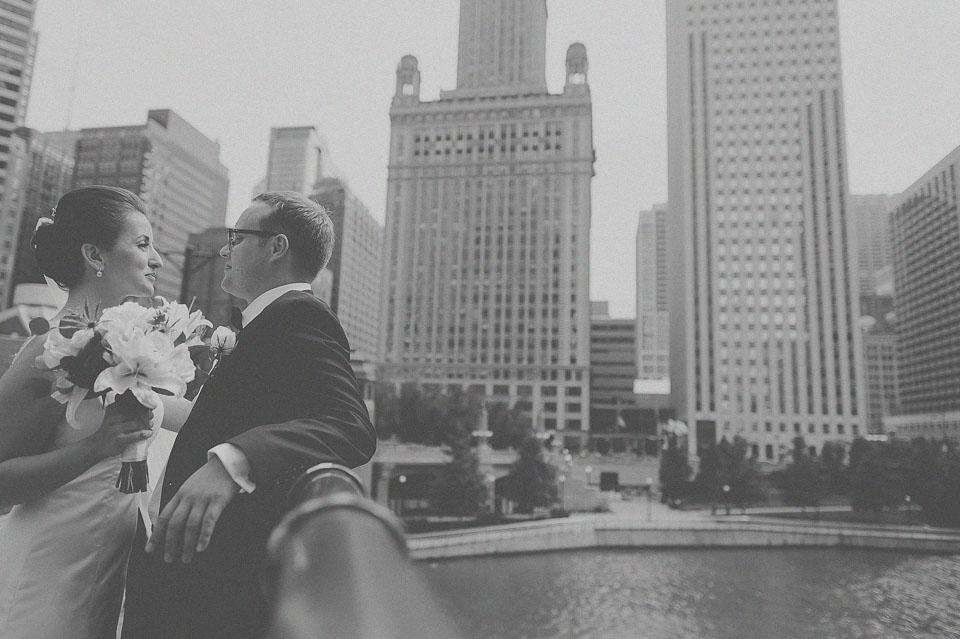 07 creative portrait on a bridge in chicago - Downtown Chicago Wedding Photographer // Bart + Sanda