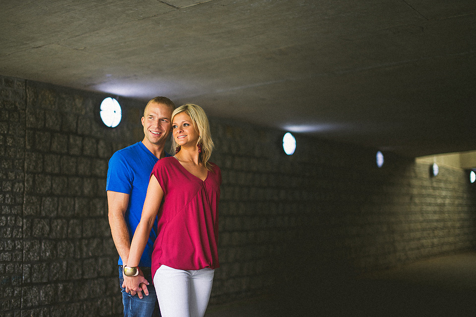smiling couples portrait in a tunnel