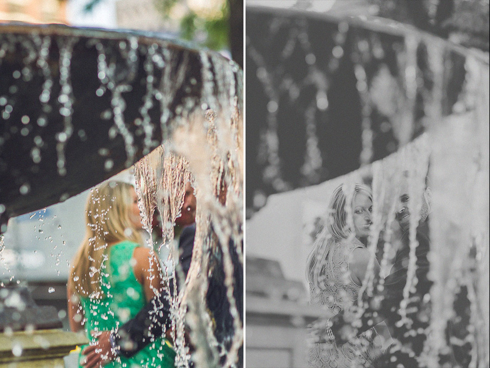 14 artistic portrait of couple by fountain in chicago