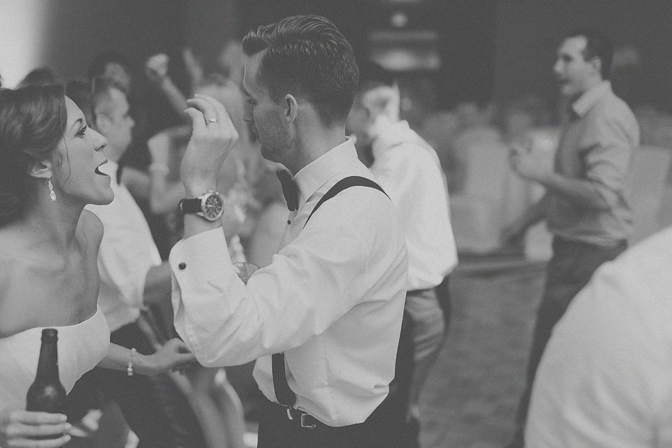 53 black and white of bride and groom dancing