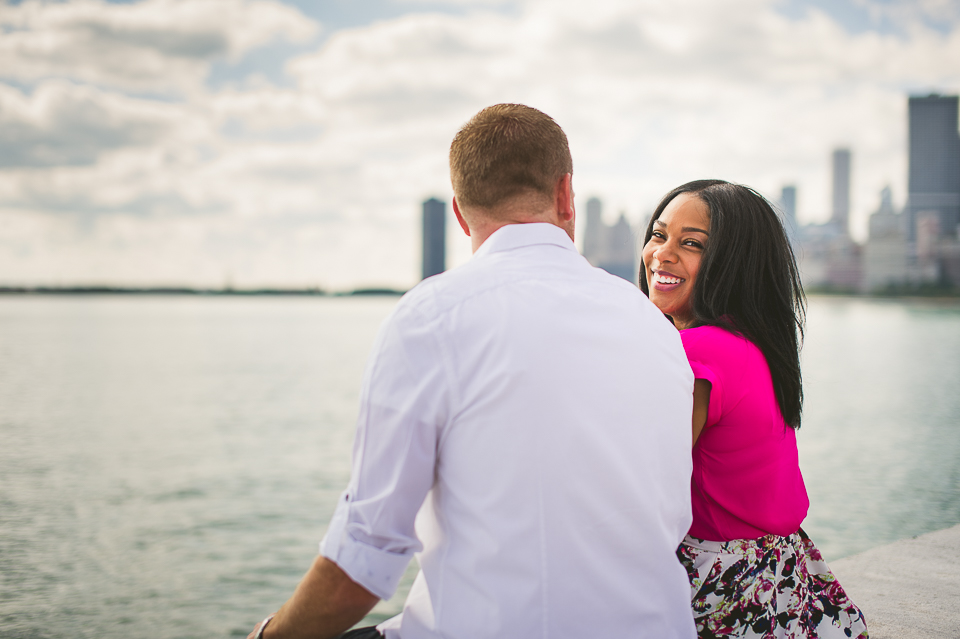 happy couple on engagement shoot