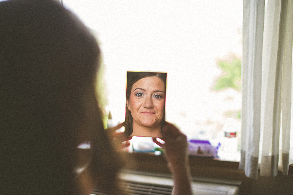10 creative bride reflection in mirror - Susan + Jack // Lake Geneva Wedding Photography