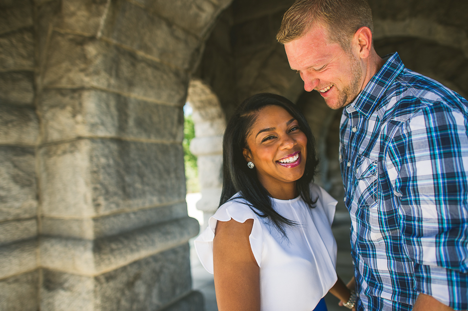 laughing at engagement session