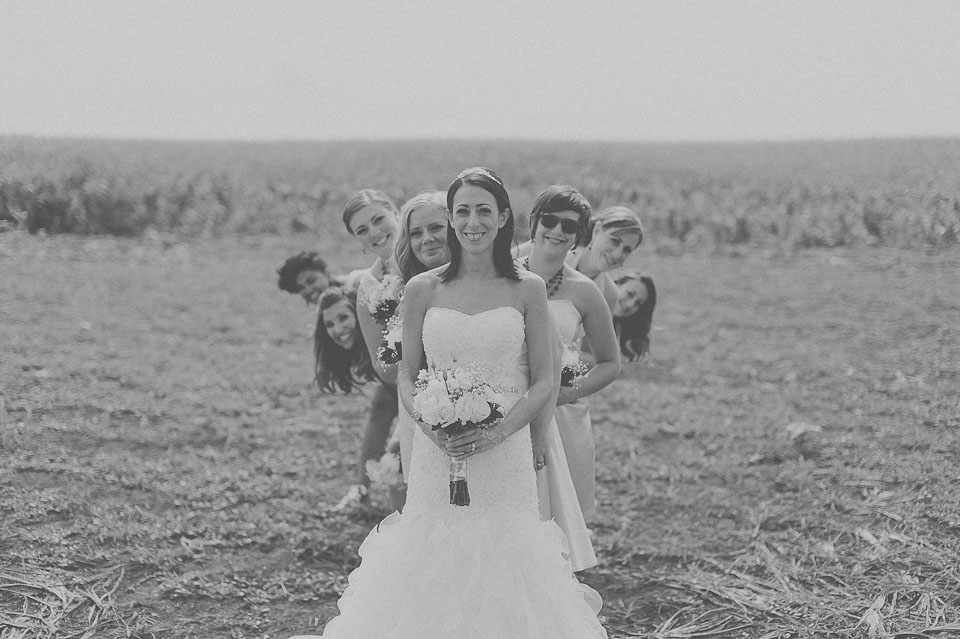 bride with bridesmaids black and white