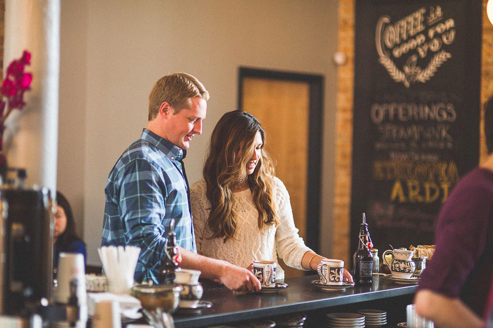 01 coffee shop engagement photos - Wicker Park Chicago Engagement Photos // Mandy + Mike