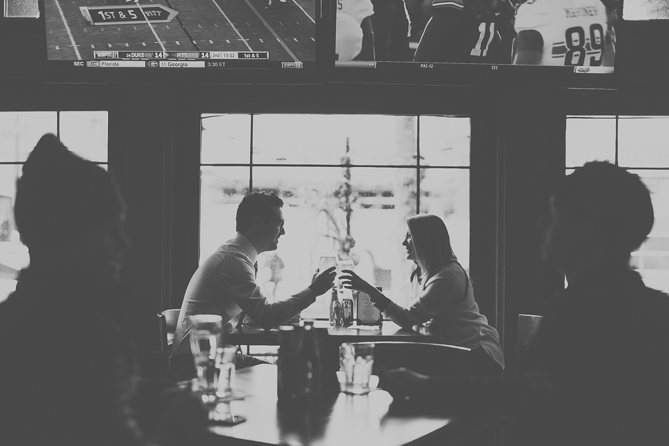 09 black and white portraits in the bar - Best Engagement Photography in Chicago // Katie + Chris
