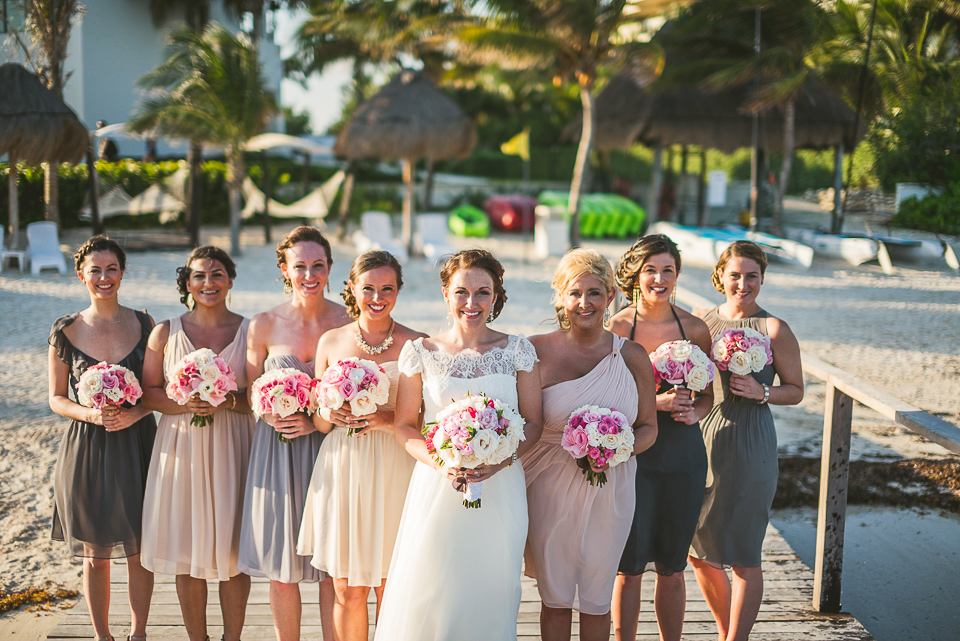 58 bridal party - Kindal + Mike's Cancun Mexico Wedding