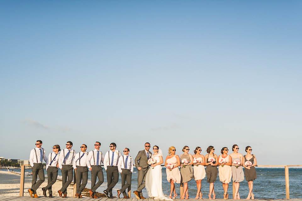 63 bridal party - Kindal + Mike's Cancun Mexico Wedding