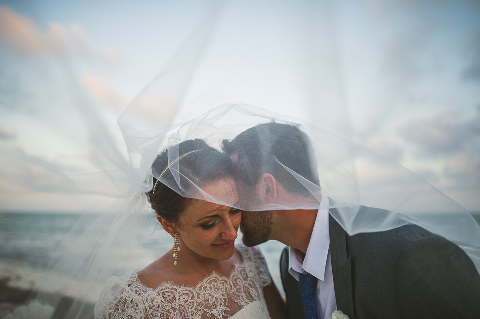 83 veil portrait - Kindal + Mike's Cancun Mexico Wedding