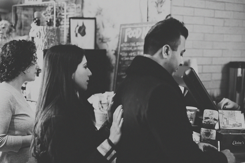 08 black and white coffee shop engagement